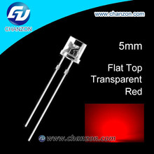 Professional manufacturer 5mm flat top through hole water clear light emitting diode bright 5mm flat top red led