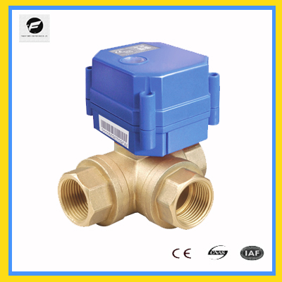 3 Way 220v Motorized Ball Valve T Type For Water Flow