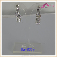 Fashion elegance oblong shape earrings with crystnal rhinestone