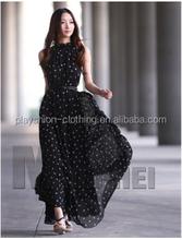 Fashion Chiffon Sleeveless Women Long Dress Small Dots Printed Design
