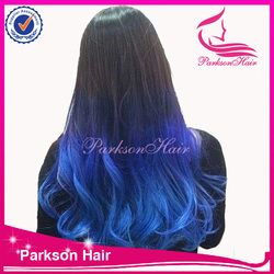 100% human hair real indian hair for sale two tone full lace micro braids blue wig