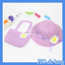 HOGIFT sunflowers Hand-knitted hat , sun cheap straw baby hat, kids straw hat hand bag suit