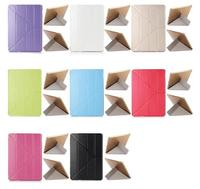 Transformer Silk Texture Tri-Fold Leather Stand Smart Case Stand Cover For iPad Air(Light Purple)