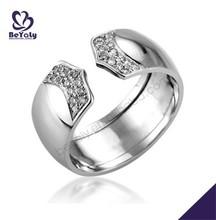 Belleza con encanto de la cz de la plata del dedo oro blanco anillos de compromiso