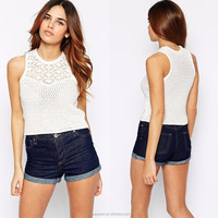 Latest design summer woman top lined bodice O-neck white sleeveless crochet new fashion girls tops