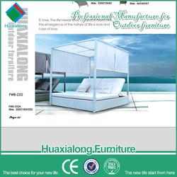 Modern garden furniture wicker aluminium rattan canopy bed outdoor