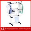 Three layers portable space saving folding movable electric clothes rack