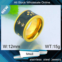 Fashion Jewelry Designs Plated Black Crystal Gold Plated Ring