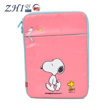 Portable cute pu leather shockproof 8 inch tablet protective case with snoopy dog and zipper for teens