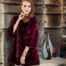 Sweet Style Round Collar women winter fifth sleeve long wine red mink coat