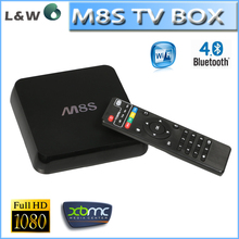 M8S S812 Quad Core Android 4.4 Smart TV Box Kodi XBMC 4K with Rii mini i8 Fly Air Mouse with keyboard wireless m8s android box