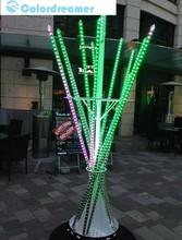 IP65 waterproof street christmas decorative dmx vertical tube,360 view degree LED rgb meteor tube light