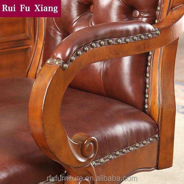 Structure en bois massif chaise pivotante en cuir v ritable finition pour bur - Chaise en cuir veritable ...