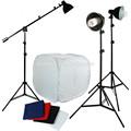pro luz 3 tienda de fotos con el auge de tres con la cubierta de metal 45w lámparas kit de estudio