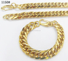 stainless steel gold color cuban chain