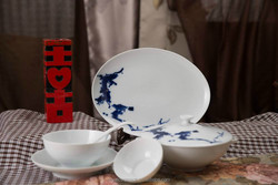 Environmental protection and health tableware Blue and White Underglazed Porcelain dinner set made in china