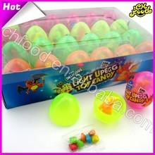 Luz ovo brinquedo doce, plástico brinquedo doce de ovos