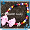 Pink ribbon star charm pet jewelry necklace pearl