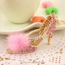 2015 High Heel Shoe Rhinestone Crystal Key chain with Rabbit Fur SK2270