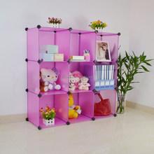 Modern DIY plastic 9 cubes wardrobe storage for children(YK-1009)