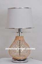 Handicraft natural rattan and glass ball table lamp