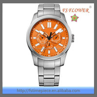 FS FLOWER - Conspicuous Vigor Orange Dial Stainless Steel Watches For Men