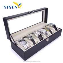 NEW 6 Slots Leather Wooden Watch Box Display Case Organizer Glass Top Watch Gift Box Jewelry Storage Watch Packaging Box Black
