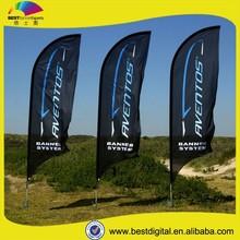 Teardrop style freestanding outdoor flag banners