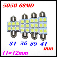 31mm 36mm 39mm 42mm 5050 SMD 6 LED Festoon Dome Car Light auto door Lamp instrument Bulb lighting White 12V work lamp
