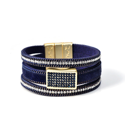 Fashion colorful single wrap leather velvet bracelet slake rhinestone bracelet