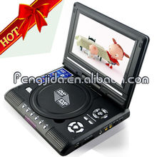 7' 3d super portable dvd player FJD750 TV/FM/GAME/USB/SD
