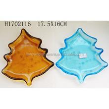 Handcraft Chrismas Tree Shape Glass Plate For Promotion