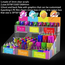 Option Graphics 6-Bin Acrylic Mobile Phone Accessories Holder Car/Home/Travel Charger Stand Wholesale Micro USB Charger Display