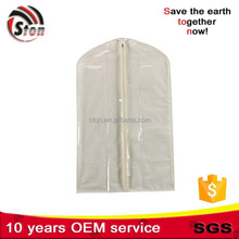 Cheap small quilted mens suit garment cover bag for suit with PVC window half