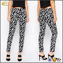 OEM wholesale High-rise waist Side zip Skinny Pants in Downtown Grid Print zumba cargo pants