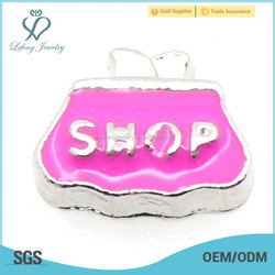 Hot Sale Shopping Wallet floating charms for Glass Memory Floating Lockets