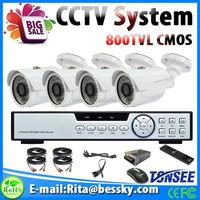 promotion complete cctv system 800tvl 4pcs Outdoor security cameras + 1pcs 4ch D1 DVR recorder cctv camera kit