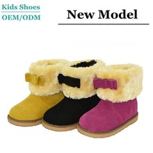 J-T0071 Guangzhou Factory Fashion Kids Shoes Suede Leather Sheepskin Winter Warm Shoes new zealand Child Boots