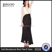 Sexy white and black long dress 2015 latest design MGOO hot selling one piece maxi dress for party