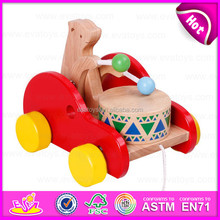 2015 Most popular pull back toy for baby Drag,Kids Wooden toy drag for christmas,Hot sale item wood bear drums drag car W05B093