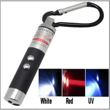 3 in 1 UV Torch Light 2 LED Flashlight Red Ray Laser Beam Pointer Pen