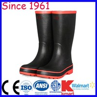 Cheap Rubber Boots Black Main Color and Red Sole Flat Head Knee Height Fashion Rain Rubber Boots