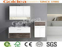 1200mm double sink white wood color pvc bathroom furniture with side cabinet