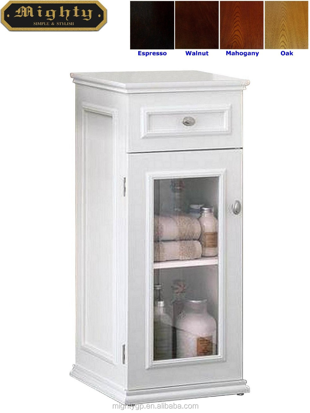 No Tools Assembly White One Drawer Glass Door Bathroom Standing Floor Cabinet Buy White