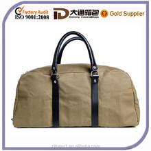 Washed Canvas Overnight Fancy Travel Duffel Bag For Men With Leather Handle