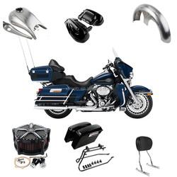 Motorcycle Saddlebag Headlight fairing fender tank footpeg air firter for Harley davidson Touring Road King