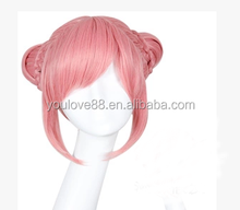 fox pink and red cospaly wig with two bun with two braids,