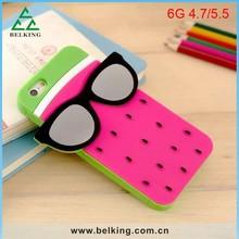 Fruit Color 3D Glasses Watermelon Rubber Phone Case For iPhone 6 Mobile Cartoon Phone Case