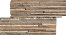 mixed color Z-shape strip culture slate natural stone veneer wall tiles 35x18