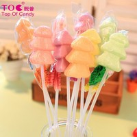 Christmas tree shaped long stick fruit pop lollipop